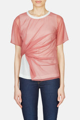 Winnie Side Twist T Shirt - Dark Blush