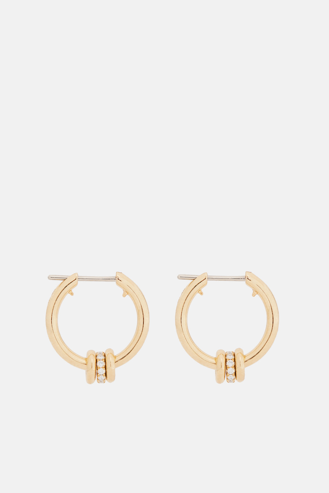 Ara Hoop Earrings with Micropave White Diamond Annulets - Yellow Gold