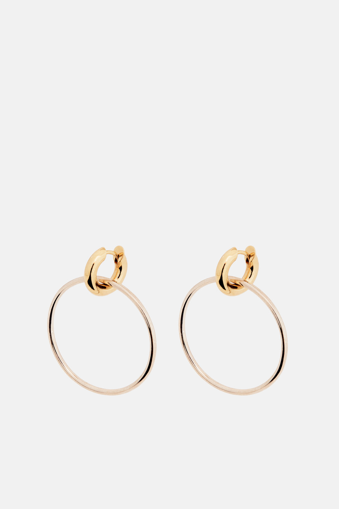 Casseus Hoop Earrings with Detachable Gold Huggie - Silver
