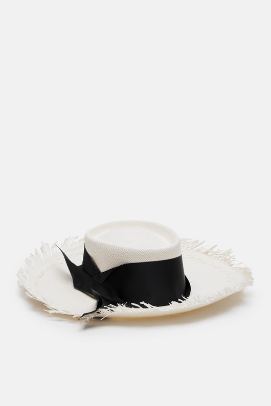 Dumont Long Brim Hat with Frayed Brim - White/Black