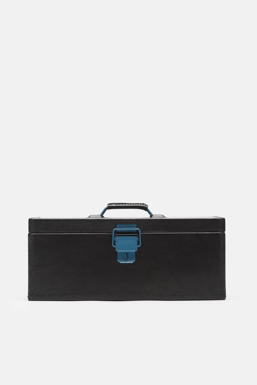 Leather-Wrapped Metal Tool Box - Black w/Black Stitch