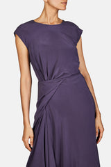 Anita Side Drape Asymmetrical Dress - Eggplant