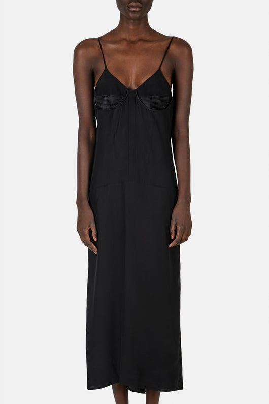 Slip dress with Corset Detail - Black