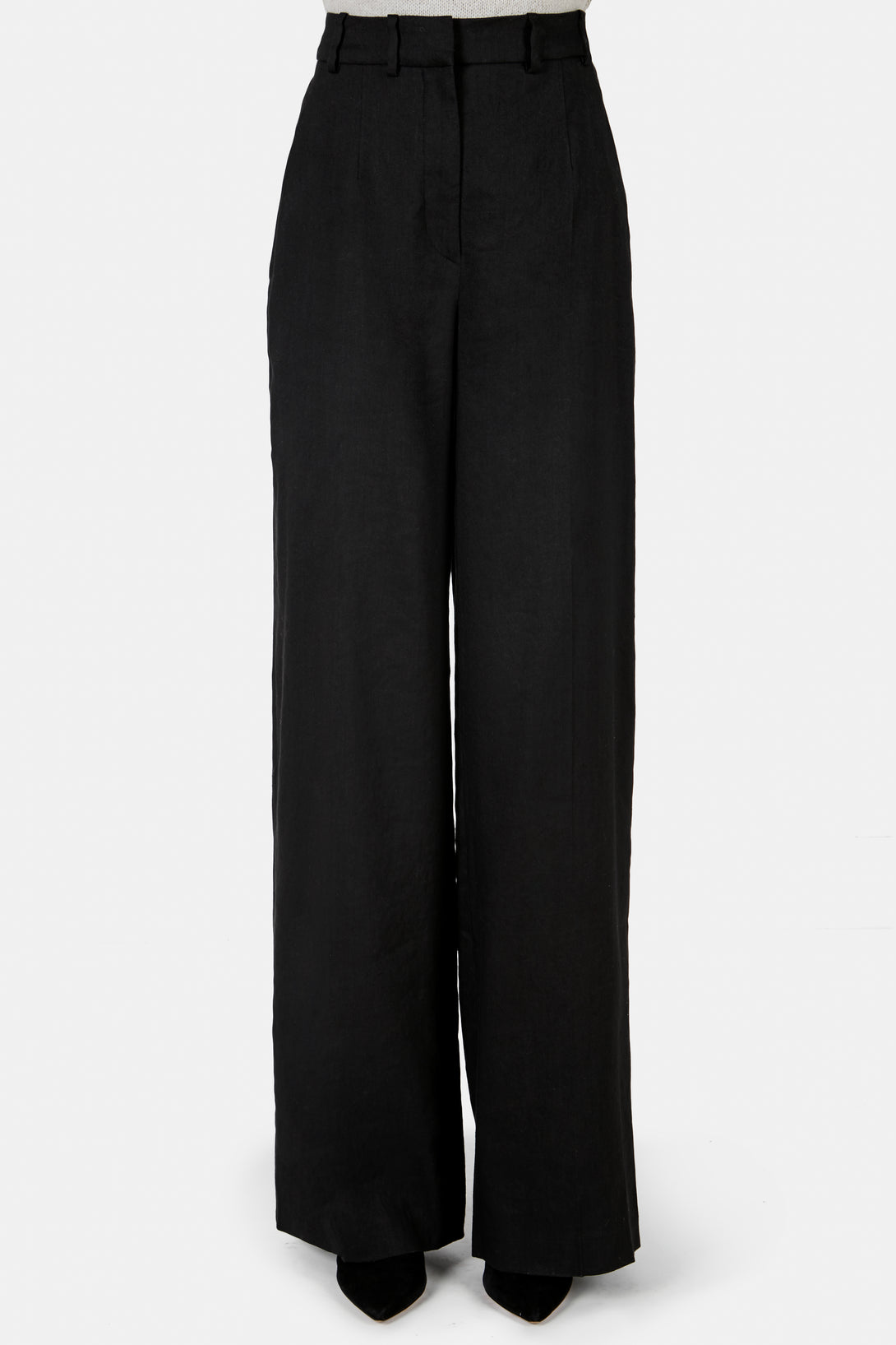 High Waisted Flared Pants with Side Slash Pockets - Black