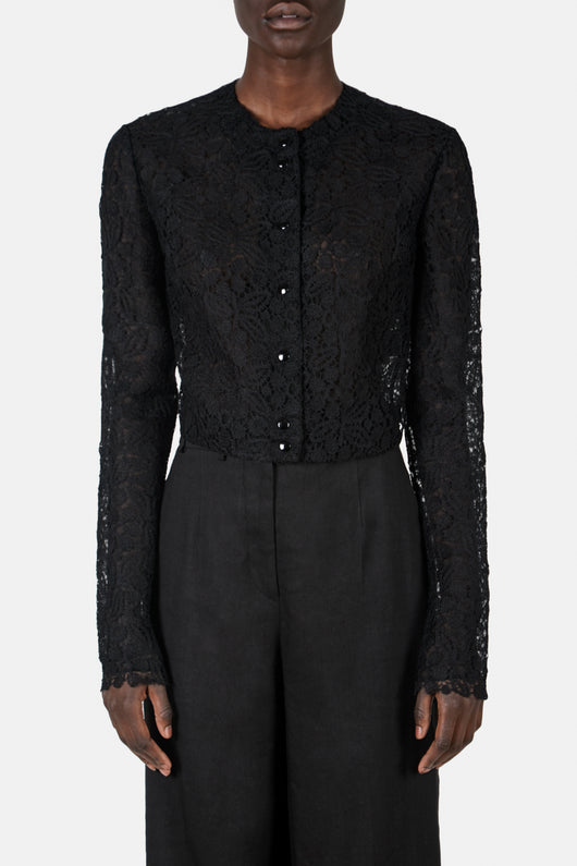 Long Sleeved Lace Cardigan with Snaps Detail - Black
