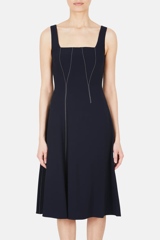Pina Fore Seamed Flare Dress - Navy