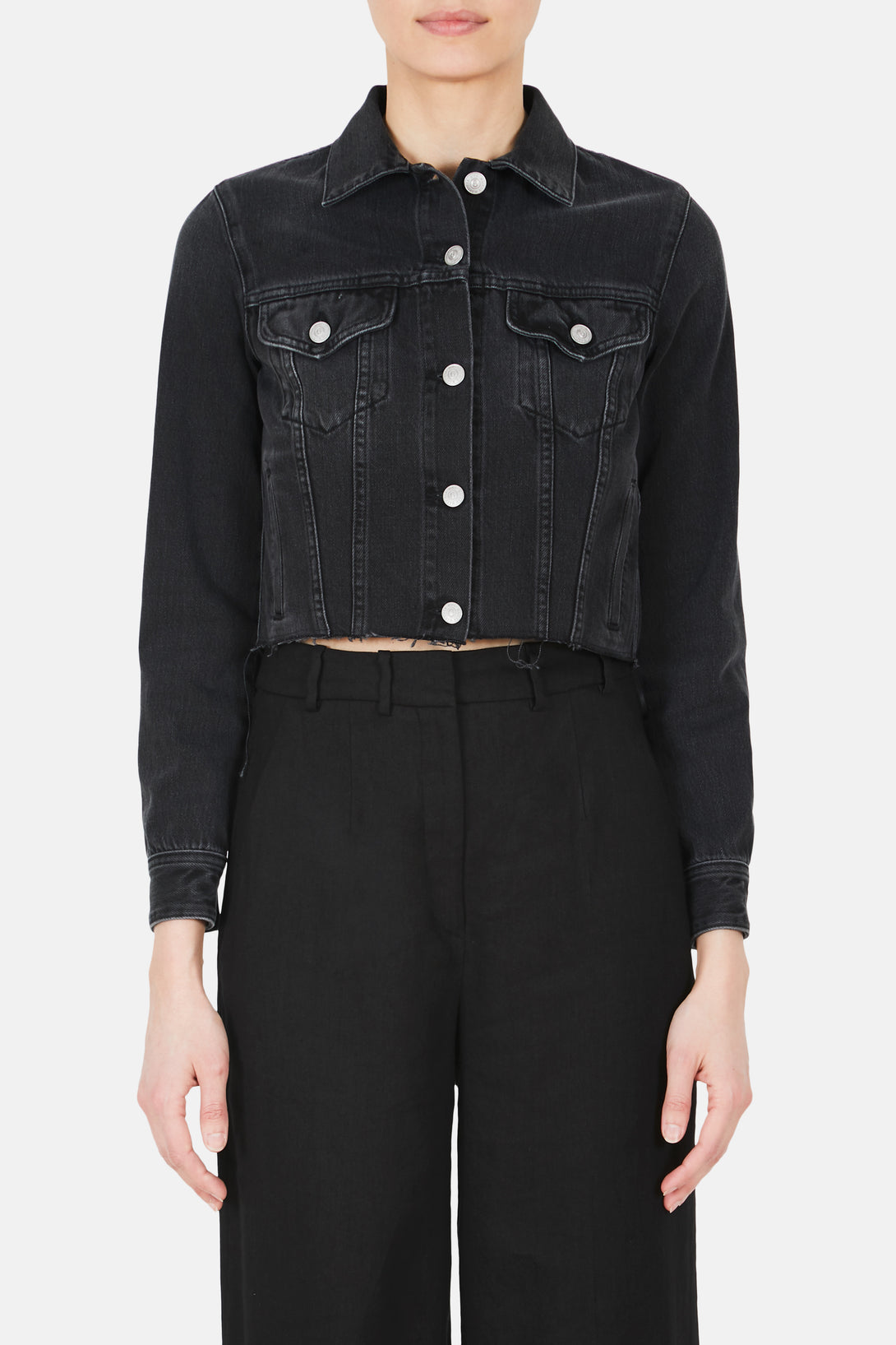 Cropped Raw Hem Denim Jacket - Black