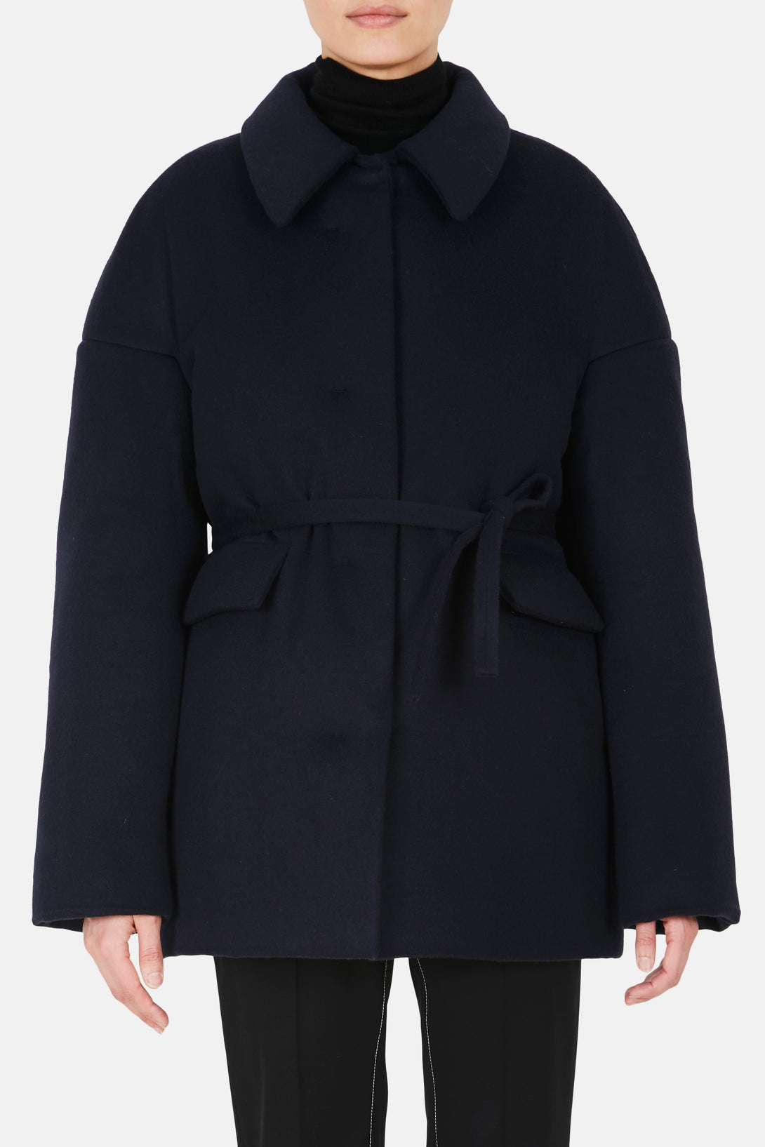 Drop Shoulder Puffer Coat - Navy