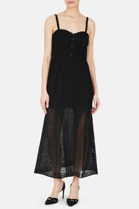 Bustier Buttoned Lace Dress with High Slit - Black