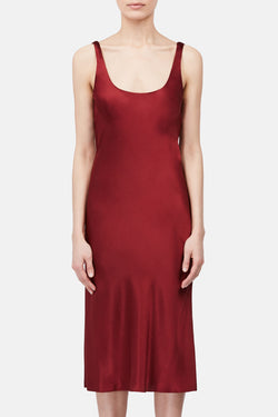 Bias Tank Slip Dress - Cherry