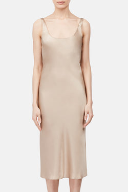 Bias Tank Slip Dress - Pale Gold