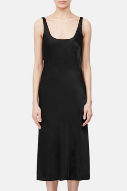 Bias Tank Slip Dress -  Black