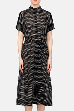 Shirtdress - Black w/White Dots