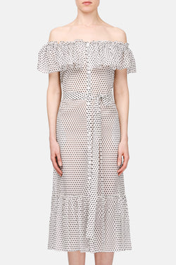 Mira Sheer Dress - White w/Black Dots