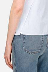 Cropped Side Slit Shell - Chambray