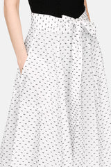 Beach Skirt - White w/Black Bows