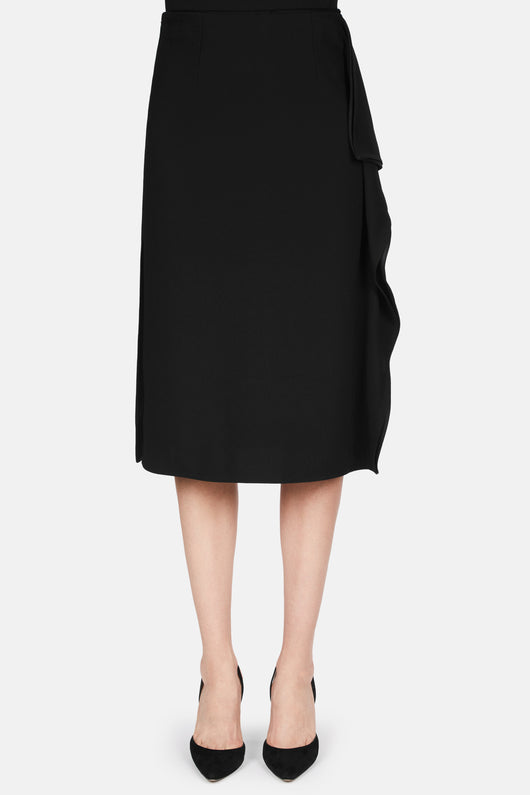 Skirt with Side Ruffle - Black