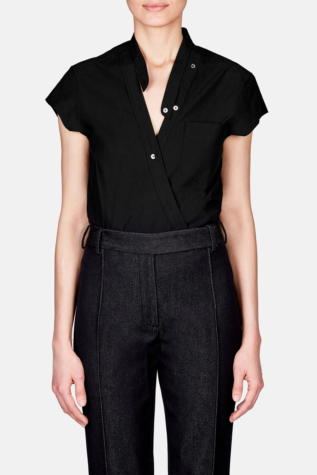 Cross Front Short Sleeve Poplin Bodysuit - Black