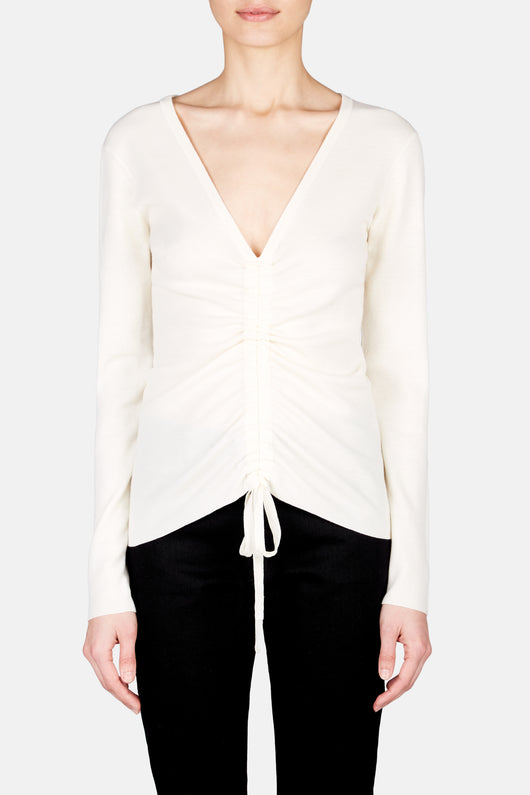 Ruched Front Long Sleeve Sweater Top - Ivory