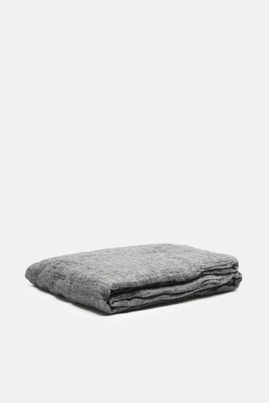Washed Linen All-Use Textile - Oversized Bedcover - Charcoal