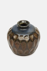 Small Glazed Studio Pot with Indented Design
