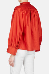 Cali Pleated Shoulder Shirt - India Red