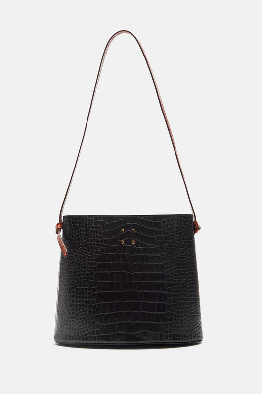 Sybil Faux Croc Bag - Navy