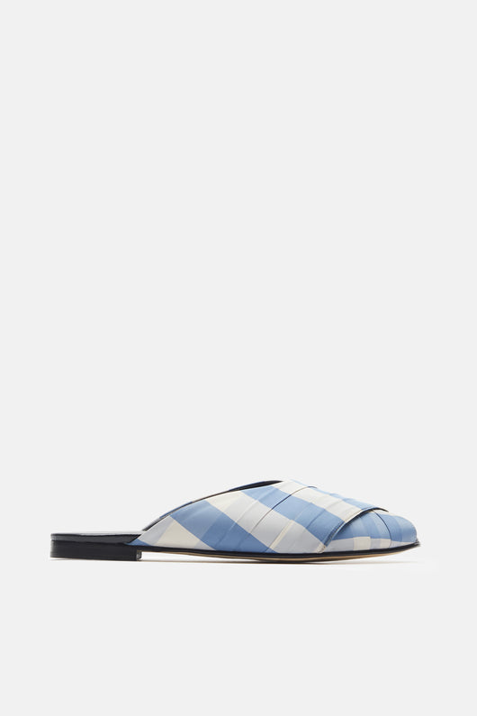 Gingham Pajama Sandal - Blue/Cream