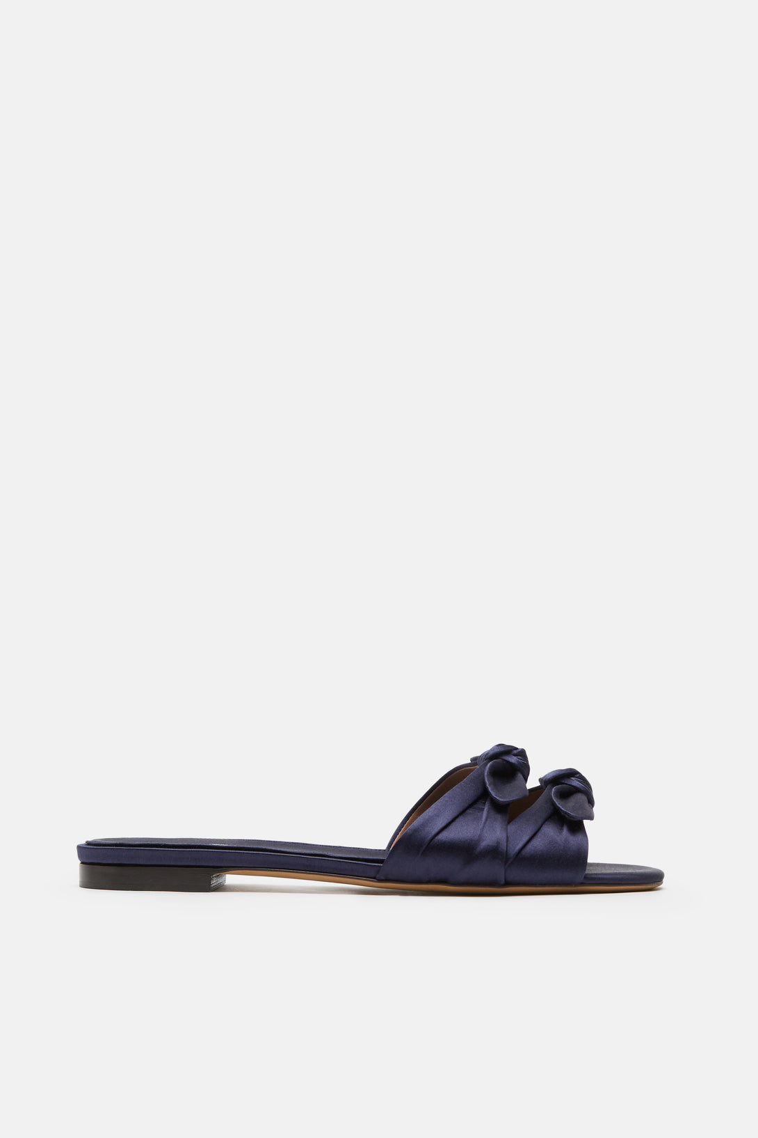 Cleo Double Bow Satin Flat - Navy