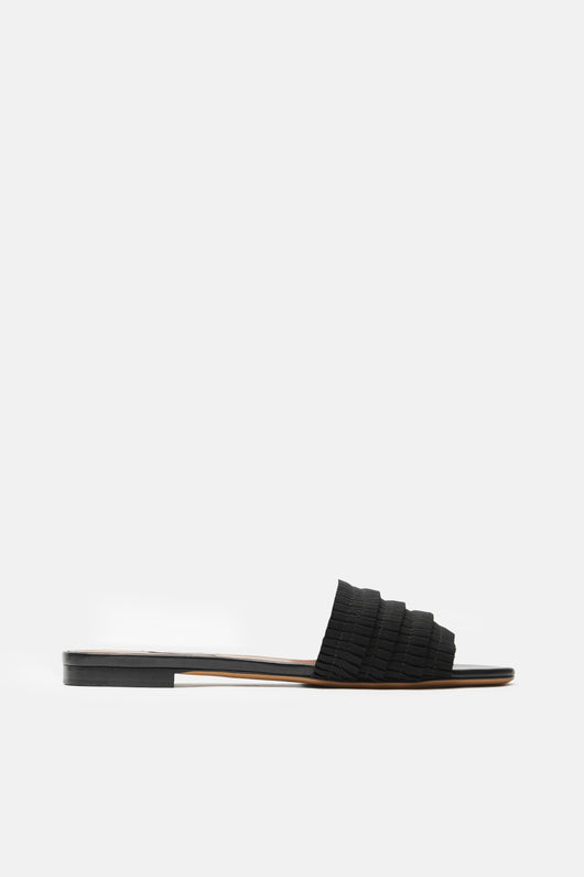 Sprinkles Pleated Grosgrain Flat - Black