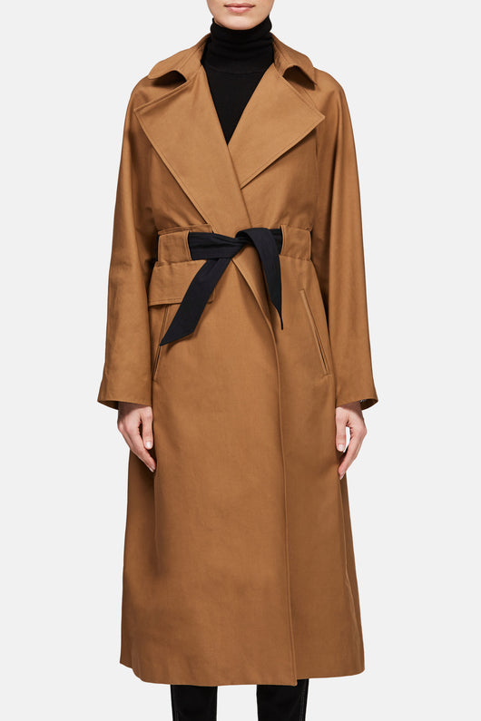Trench with Contrast Belt - Caramel