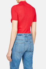 Short Sleeve Mock Neck Pullover - Rouge