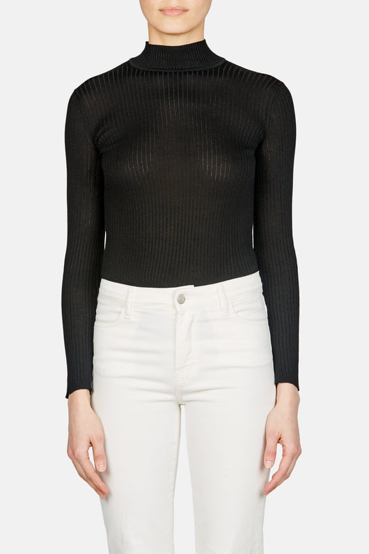 Long Sleeve Mock Neck Pullover - Noir