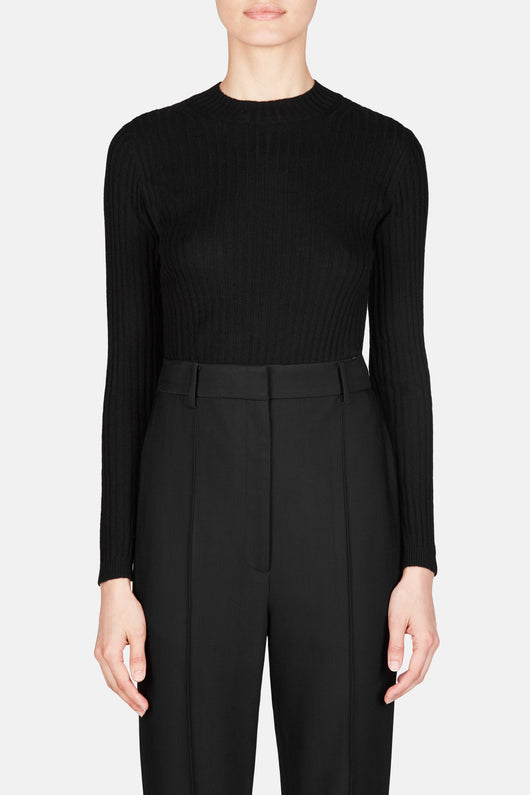 Ribbed Cashmere Mockneck - Black