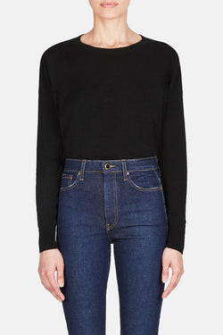 Cropped Wide Neck Pullover - Black