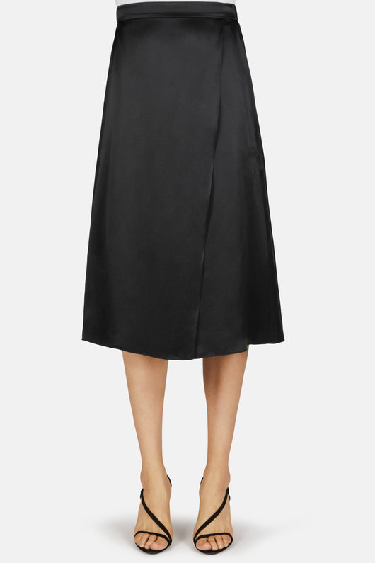 Drape Panel Skirt - Black