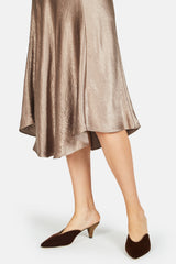 Crushed Satin Bias Skirt - Taupe