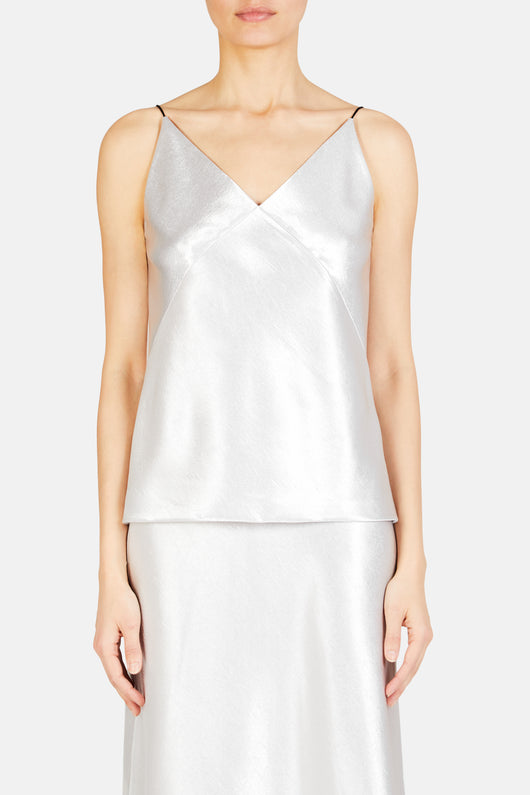 V-Neck Bias Satin Cami - Silver