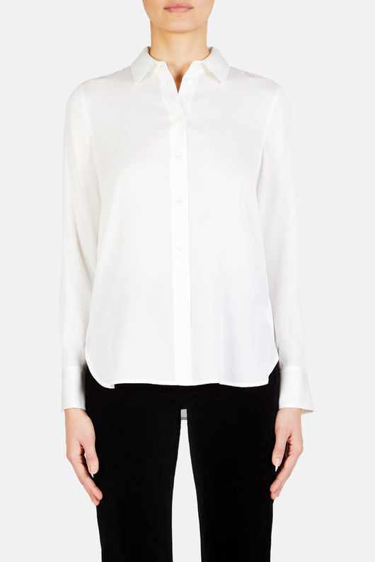 Slim Fit Button Down Blouse - Off-White