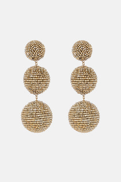 Three-Ball Beaded Earrings - Gold