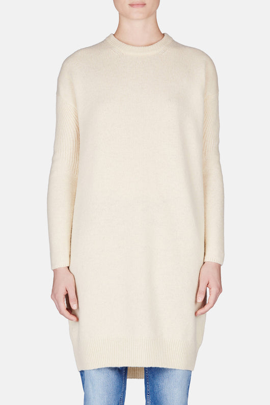 Phebe Sweater Dress - Cream White