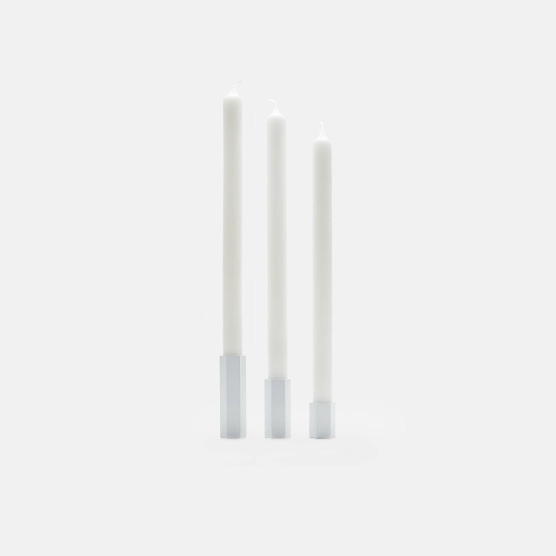 Set of Three Hex Candleholders - Gloss White