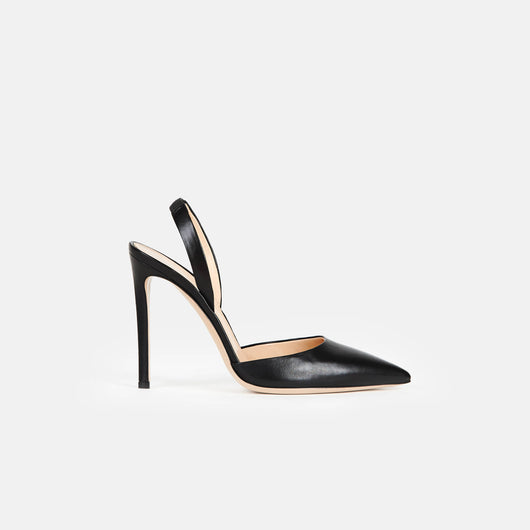Slingback - Black Leather