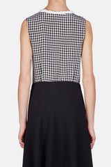 Piombo Top - Black Crinkled Gingham