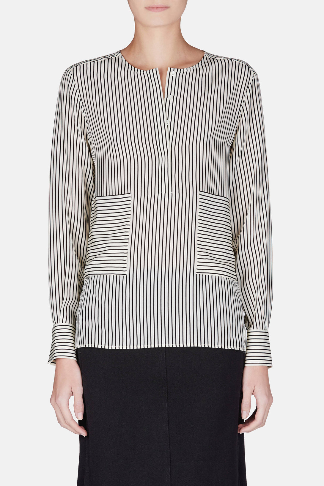 Carnegie Shirt - Cream/Black Pinstripe