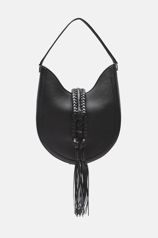 Ghianda Bullrope Small Hobo Bag - Pebbled Black