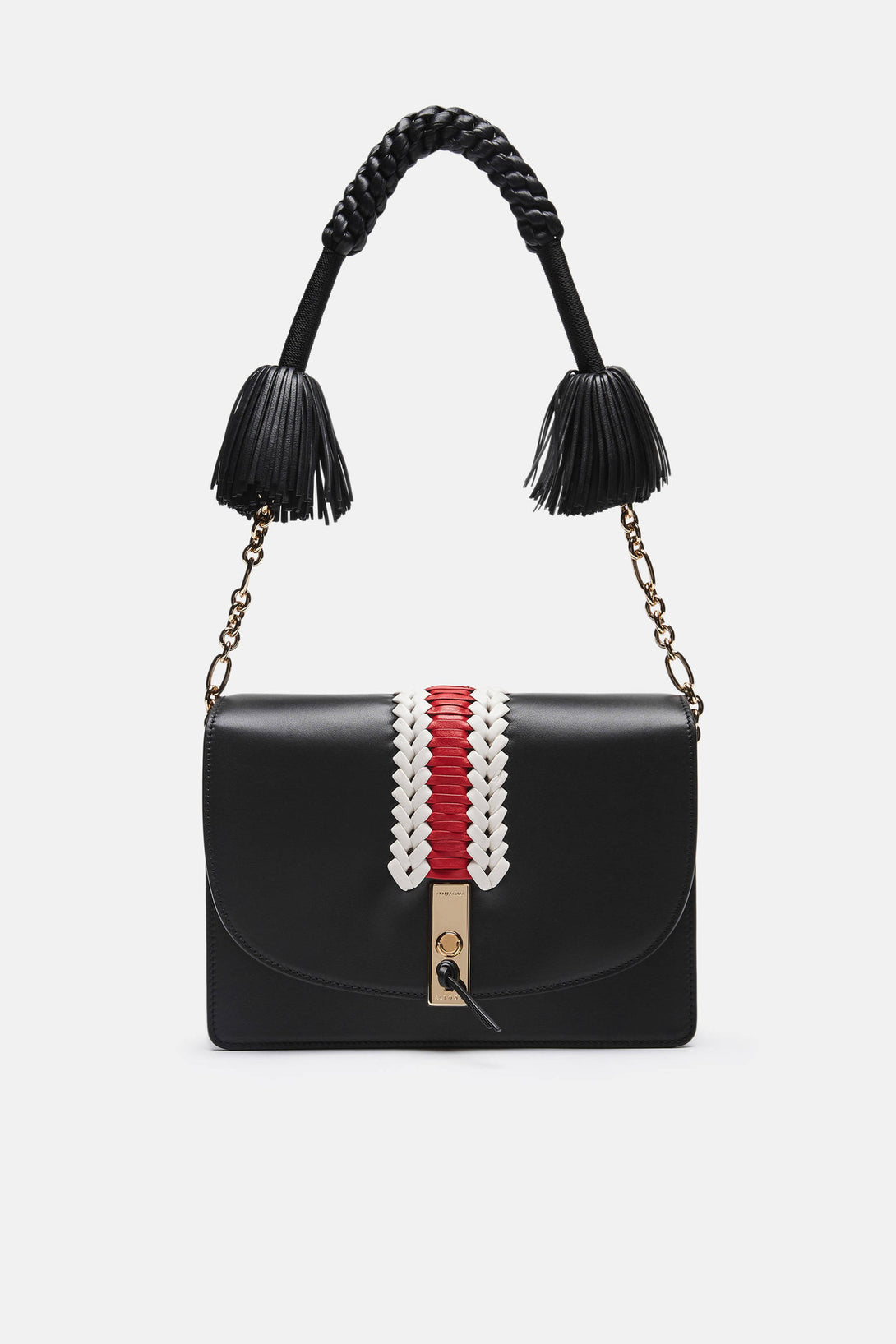 Ghianda Shoulder Bag - Black with Embroidery