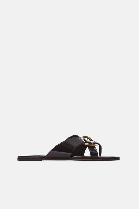 Asymmetrical Thong Slide with Large Metal Ring - Nero