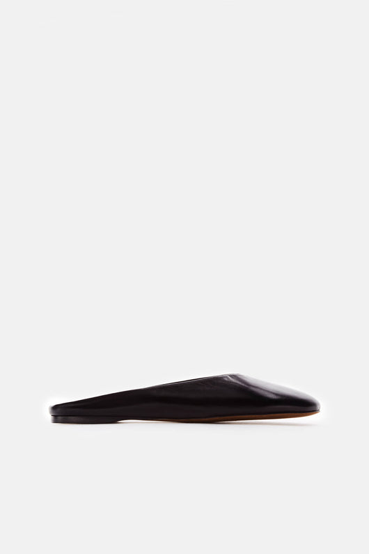 Simple Almond Curved Mule - Nero