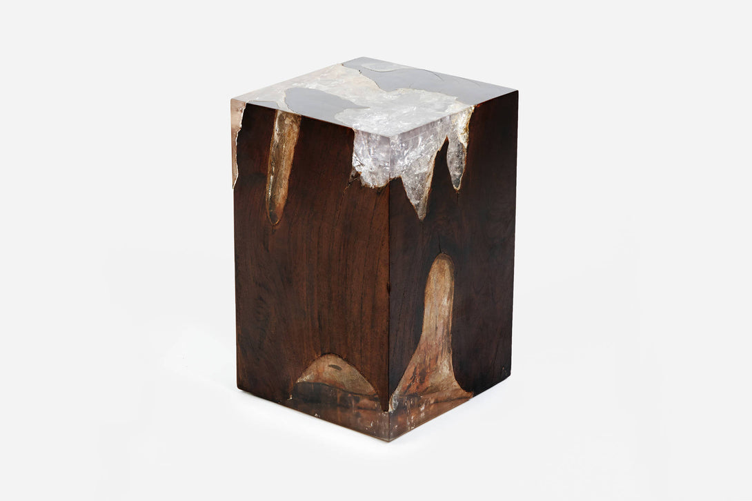 ... Dark Brown Organic Teak And Resin Side Table ...